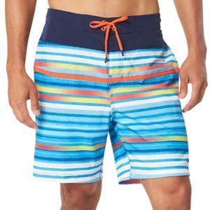 SPEEDO MEN'S  TWO TONE STRIPE E-BOARD SWIM SHORT